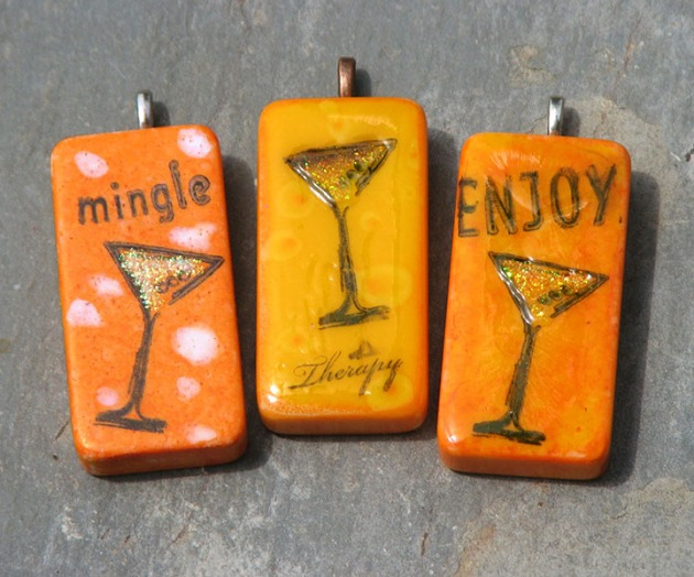 stazon solvent based ink used to create martini glass charms