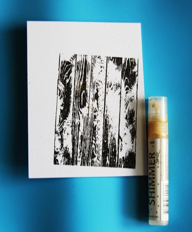 Add shimmer onto image panel using Gold Sheer Shimmer Spritz