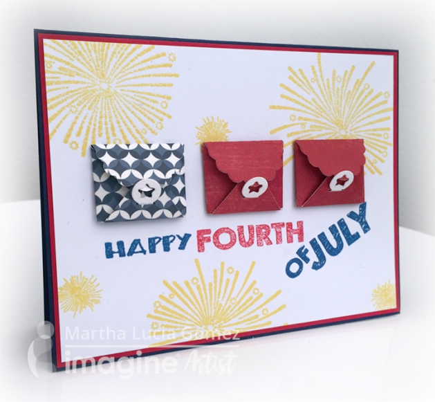 Happy Independence Day! Create a sweet card with Waffle Flower mini envelope dies. Red, White and Blue inkpad from Tsukineko.
