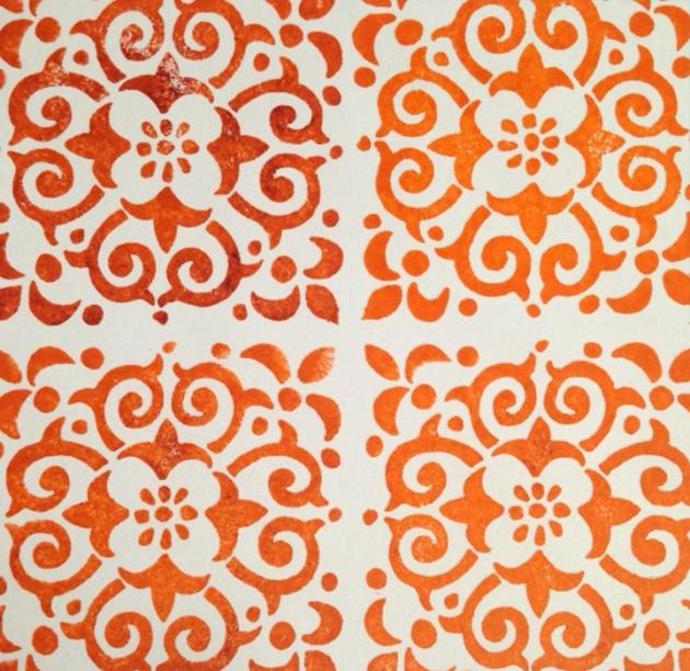 Tangerine Tiles Stamp StazOn Tsukineko ink Orange Zest