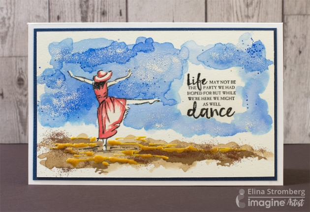 Just Dance Watercolor Card by Elina Stromberg