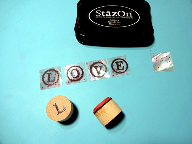Stamp letters or images with StazOn Jet Black.