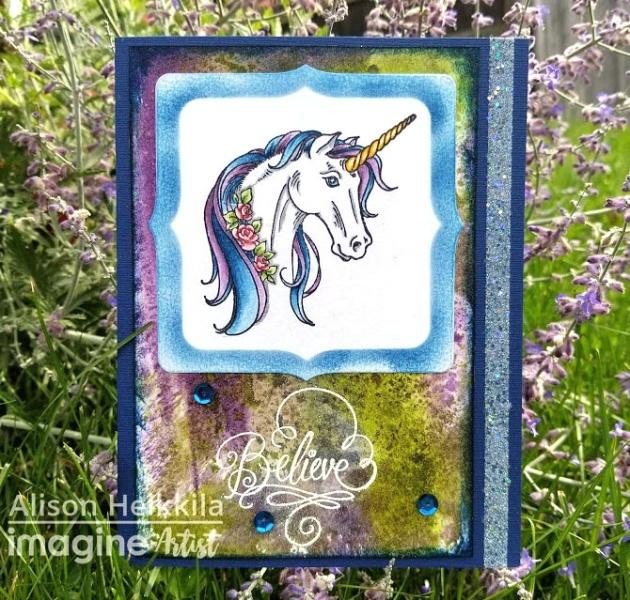 magic rainbow unicorn believe handmade card alison heikkila