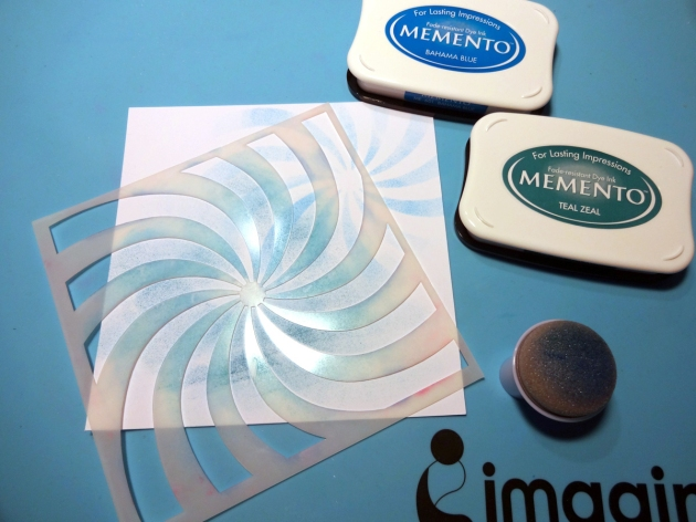 Memento Bahama Blue and Teal Zeal inkpads with the swirl pattern stencil