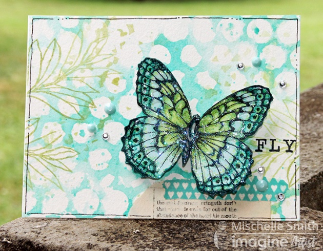 Fluttering Butterfly featuring Faux Gelli Printing with VersaMagic and Ink Potion #9 by Mischelle Smith