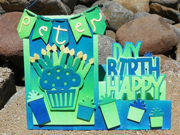 pop up birthday card Teal Stair Bday Card