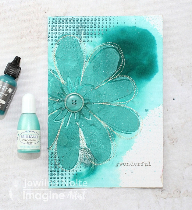 Learn How to Use Tsukineko teal Inkers to Create Texture in a DIY Card