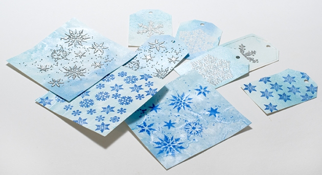 Snowflakes are always a safe choice for Christmas cards Shapphire Blue.
