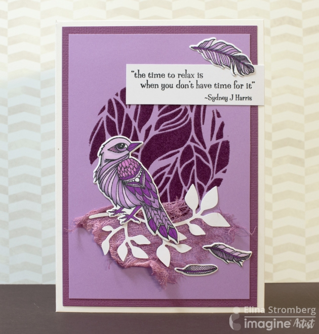 Create an Encouragement Card with Beautiful Purple Hues by Elina Stromberg