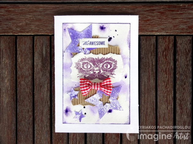 purple ink, star die, awesome cat card with mixed media design.