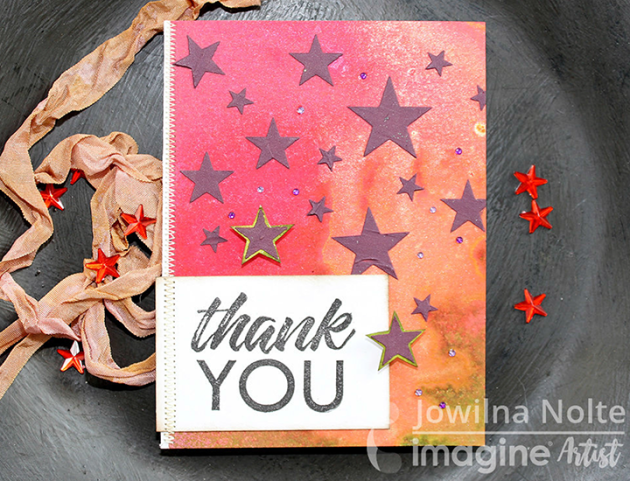 Create Texture and Color with Beautiful Aubergine Stars Thank you Card Tsukineko imagine crafts jowilna nolte