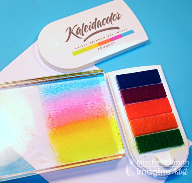Stamp Kaleidacolor onto acrylic block to use as a palette for your watercoloring
