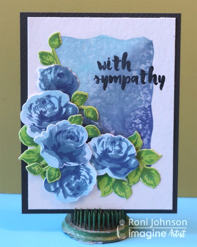 Blue Roses Sympathy Card by Roni Johnson