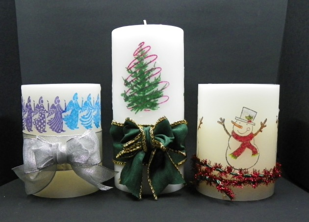 Learn to Decorate a Candle with Your Holiday Stamps. StazOn - Forest Green, Blazing Red, Jet Black, Royal Purple, Azure