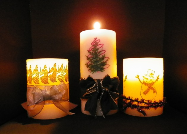 Learn to Decorate a Candle with Your Holiday Stamps