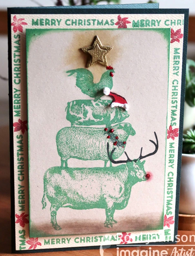 Make a Cute Farm Animal Themed Christmas Card using Delicata Emerald Green
