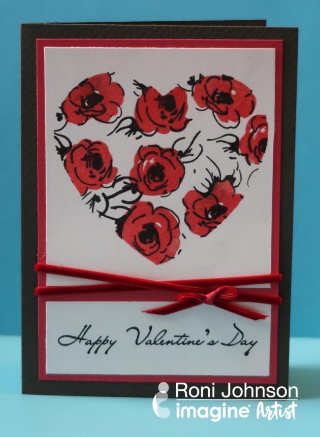 Handmade Valentine featuring masked layered stamping in Nocturne and Tulip Red by Roni Johnson.