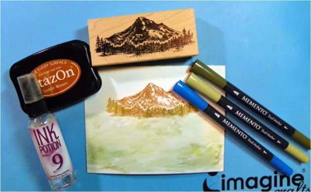 use Memento Markers in Pistachio and Olive Grove in the foreground and Danube Blue for the sky.