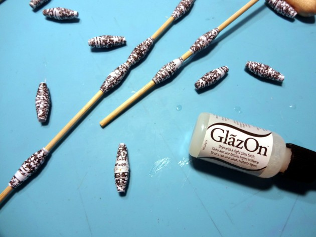 When all beads created, cover them with GlazOn and let them dry.
