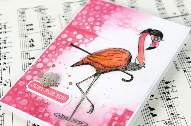 Stamp a Flamingo image in the open area of your card. Carabelle Studio Feet in the Water stamp