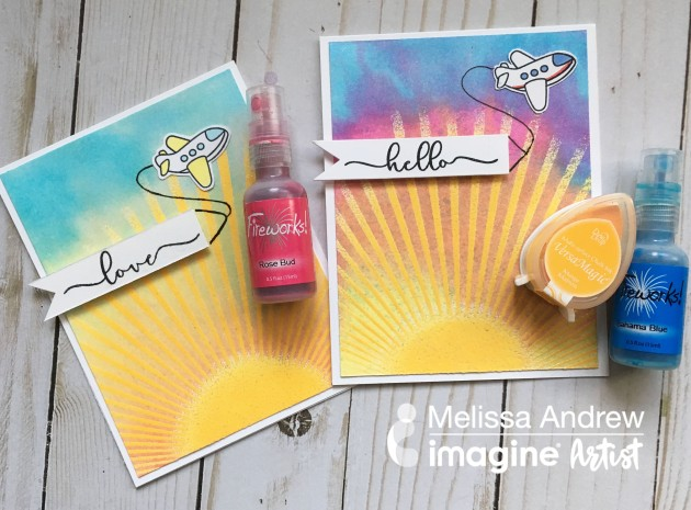 Create a Beautiful Sunburst Card with VersaMagic and Fireworks Craft Spray