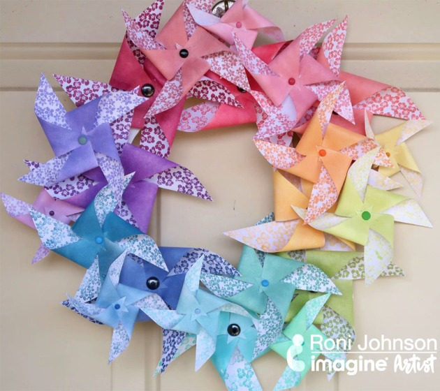 See How to Make a Paper Rainbow Pinwheel Wreath with VersaMagic Ink.
