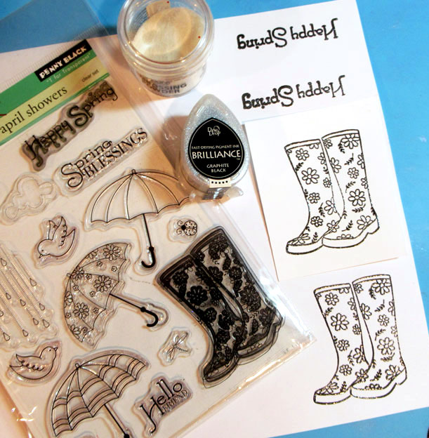 "Brilliance in Graphite Black, stamp two pairs of boots and two ""Happy Spring"" sentiments"