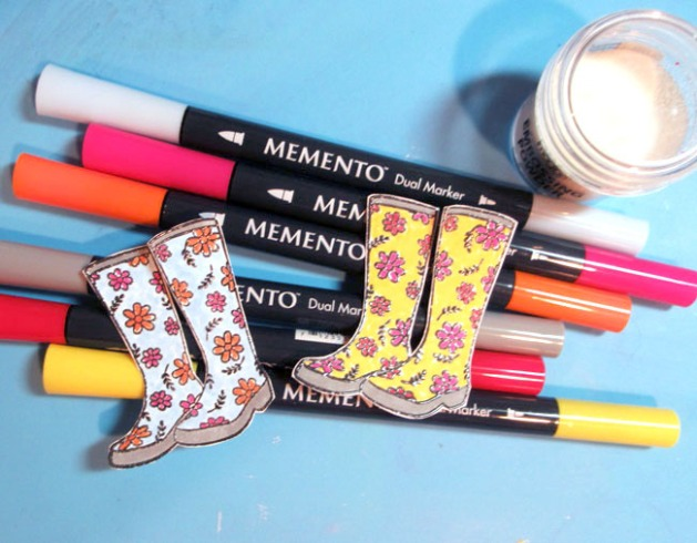 Fussy cut the boots and color with different colors of Memento Markers.