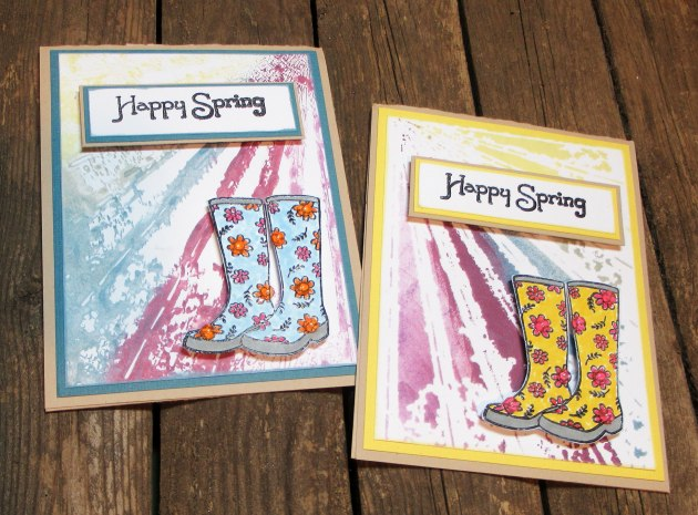 "Make a Cute Rainboots Theme ""Happy Spring"" Card with VersaMagic DewDrop inks."