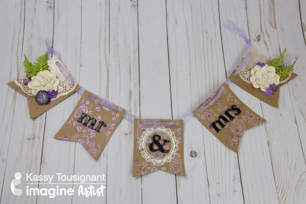 Learn How to Make a Shabby Chic Wedding Banner by Kassy Tousignant. VersaMark Embossing Powder - Black Fireworks! Shimmery Craft Spray - Desert Sand, Grape Jelly, London Fog
