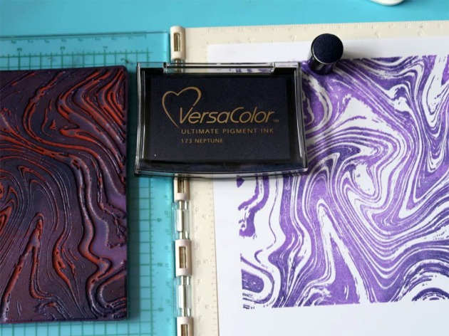 the marble stamp with VersaColor Neptune Ink