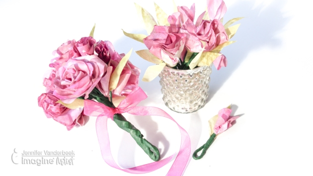 How to Make Wedding Flowers from Coffee Filters pink roses