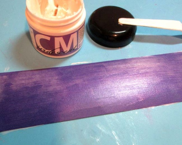 apply Creative Medium Iridescent Purple onto a strip of purple cardstock