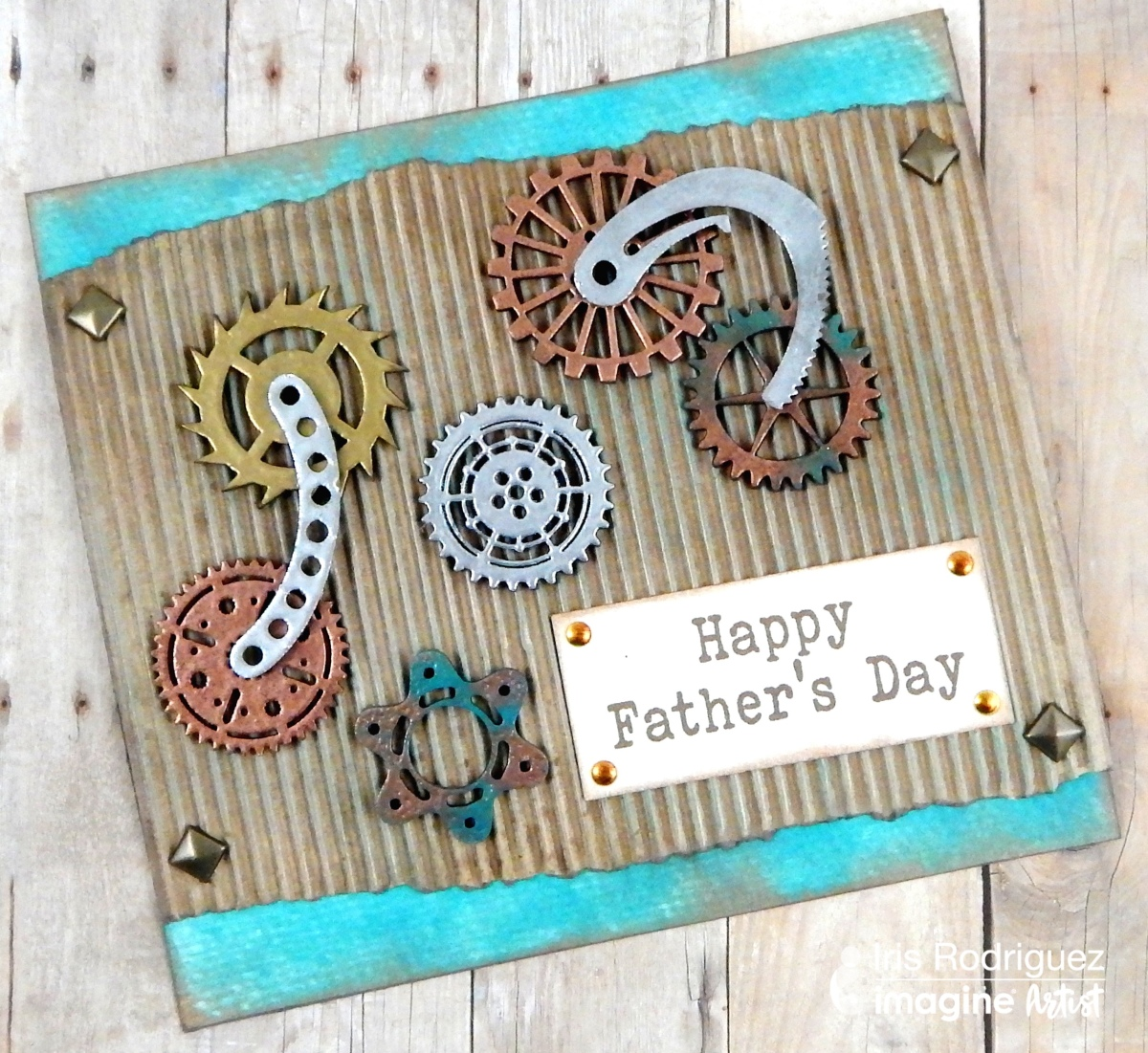 Create A Copper And Teal Fathers Day Steampunk Card Imagine Blog
