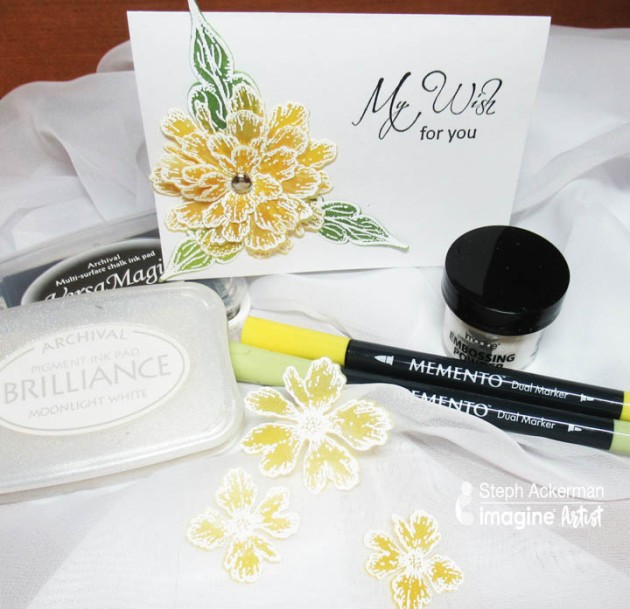 See How to Emboss on Vellum with Brilliance and color the flower stamps with Memento dye ink markers