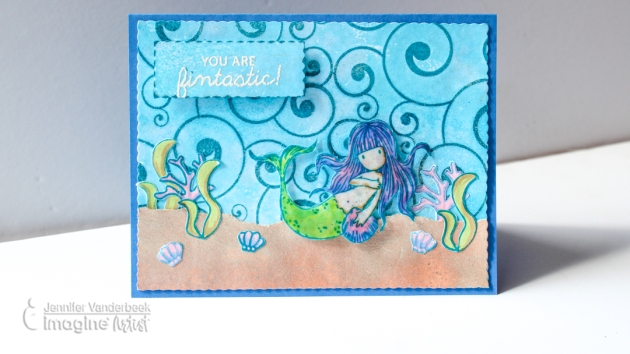 How to Blend Different Stamps in the Same Mermaid Card Project with VersaFine Clair