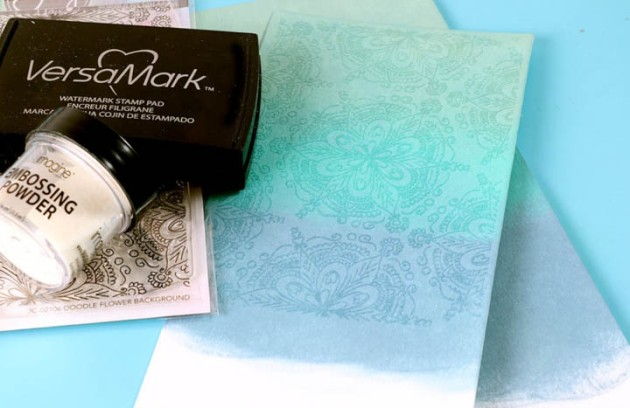 Misti Stamping Tool and stamp the background image in Versamark ink and then sprinkle with clear embossing powder