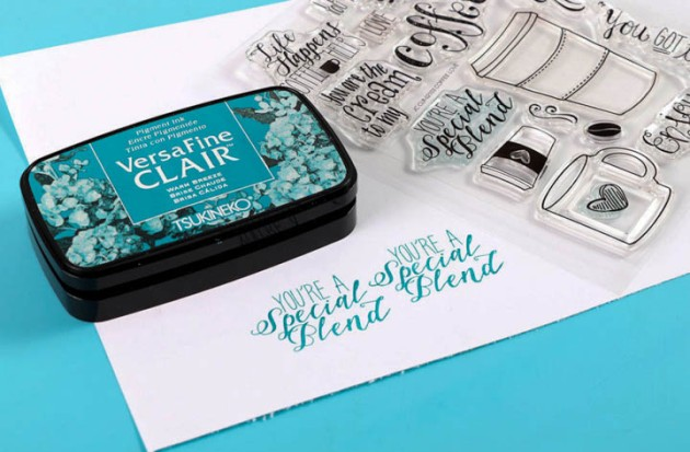 "Stamp ""You're A Special Blend"" sentiment from your Coffee Lovers set repeatedly in VersaFine Clair Warm Breeze across the paper band."