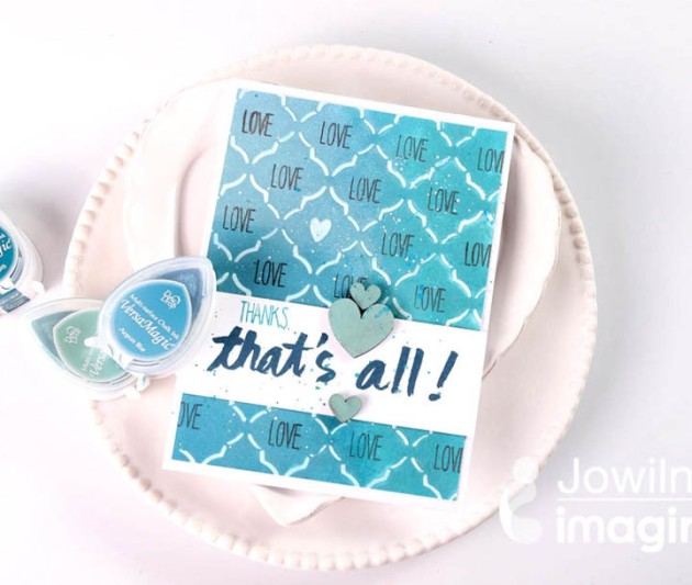 Create a Shades of Sea Breeze Thank You Card with VersaMagic DewDrop and VersaFine Clair