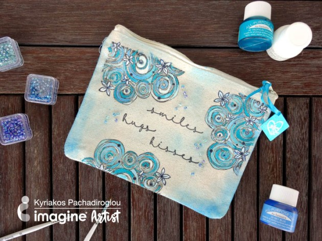 See How to Stamp and Color with Fabric Inks with All-Purpose Ink, Fabrico markers, and VersaFine Clair.