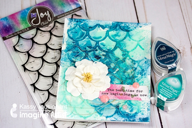 See How to Use Embossing Powder to Create Mermaid Scales Joy Clair Stamps and VersaMagic DewDrops