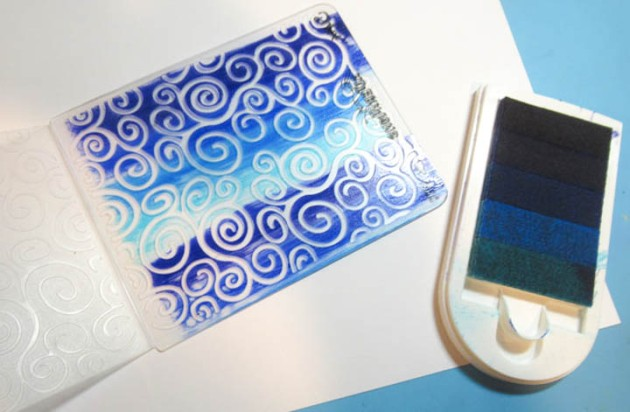 Ink embossing folder with Kaleidacolor Blue Breeze