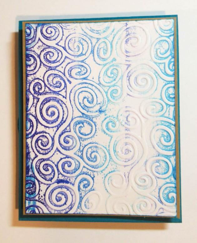 Mat embossed panel with kraft cardstock