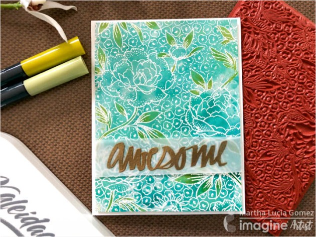 Create an Awesome Watercolored Background with Kaleidacolor Ink. This handmade card also has a beautiful vellum sentiment embossing in Gold.
