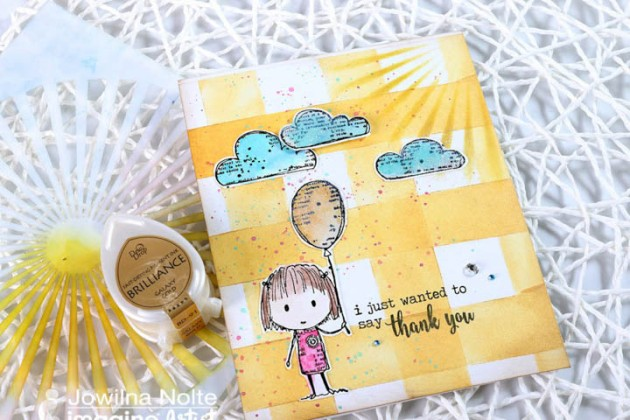 "Make a ""Thank You"" Card with a Fun Picnic patterned Background using Tsukineko inkpads"
