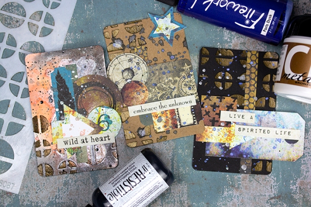 Prepare Bold ATC Cards with Bronze Highlights by Kassy Tousignant. YouTube video tutorial on papercrafting and mixed media.