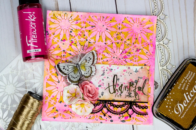 Learn How to Stencil a Mixed Media Card