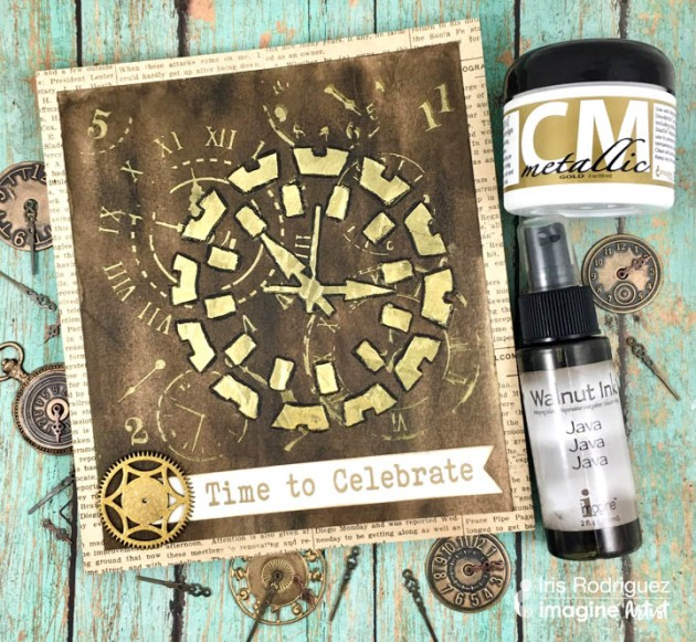 Craft A Time To Celebrate Greeting Card with Walnut Ink and Metallic Gold Creative Medium