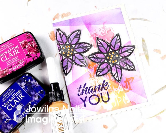 Learn How to Make a Retiform Inspired Card in Lavender using Tsukineko's All-Purpose Ink and VersaFine Clair