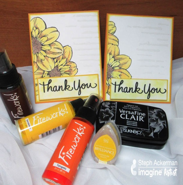 Create an Bright Floral Set of Thank You Cards with Fireworks Shimmery Craft Sprays